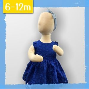 👗Royal Blue Eyelet Dress with Bloomers